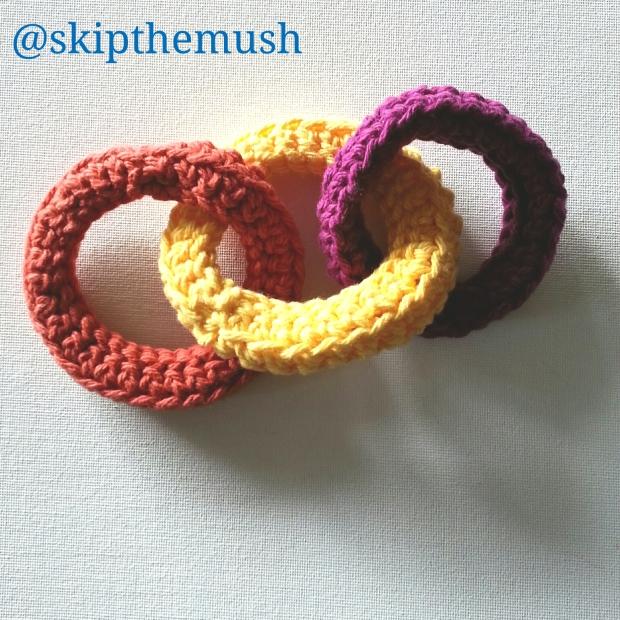 3 crocheted rings