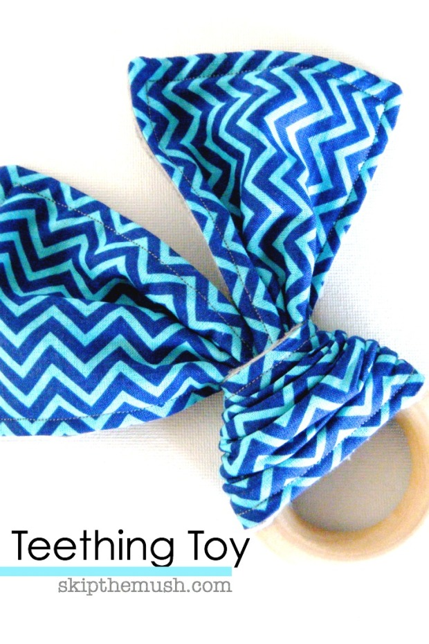 handmade teething toy for baby cotton fabric and maple wooden ring