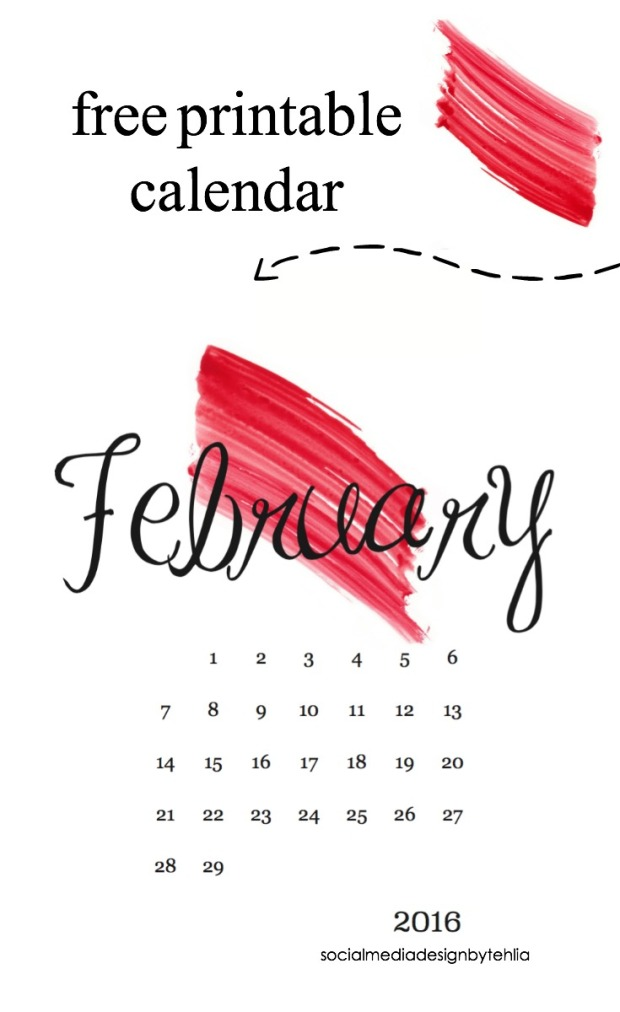 free printable calendar pinterest image red paint marked