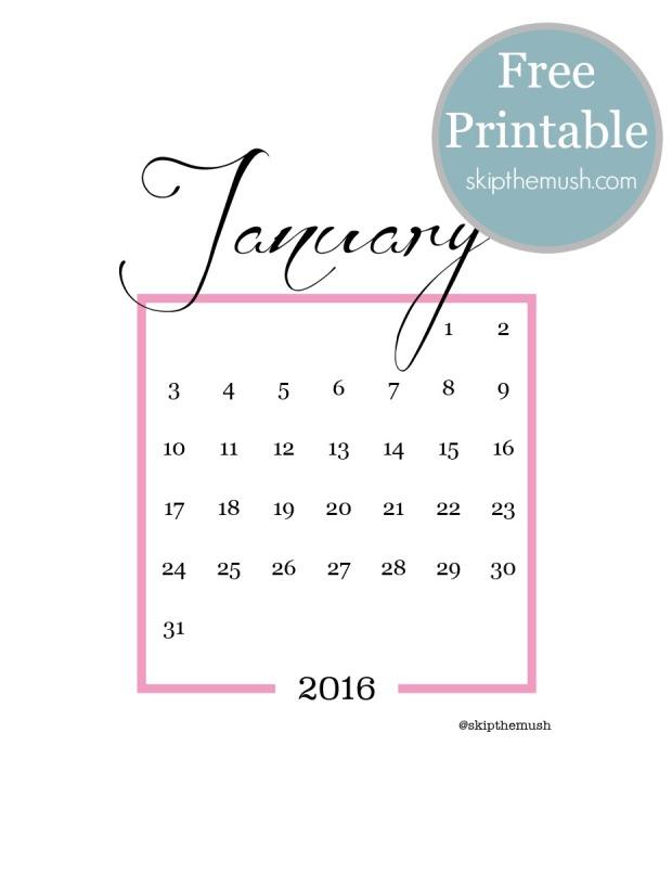 January free printable calendar