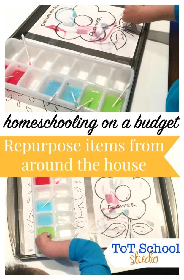 homeschool on a budget, tot school, painting