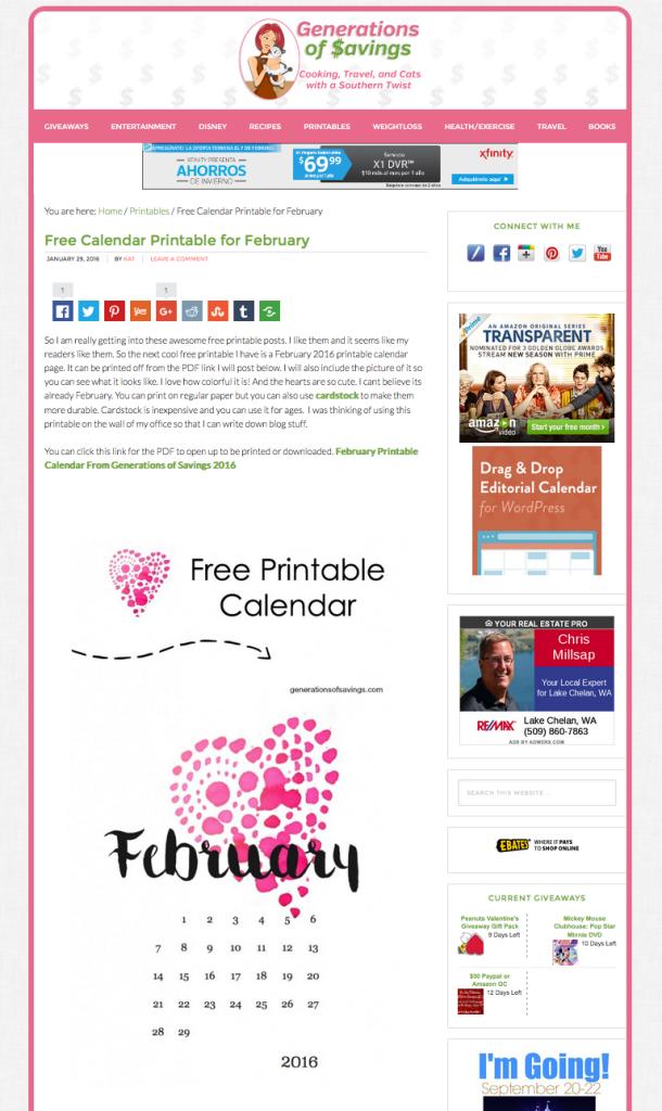 Generation of Savings February Calendar