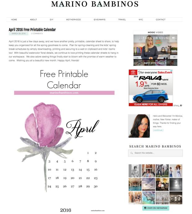 april free printable calendar