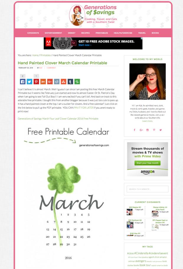 march free printable calendar