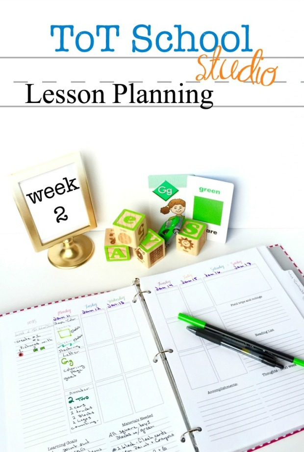 tot school homeschool lesson plan color green