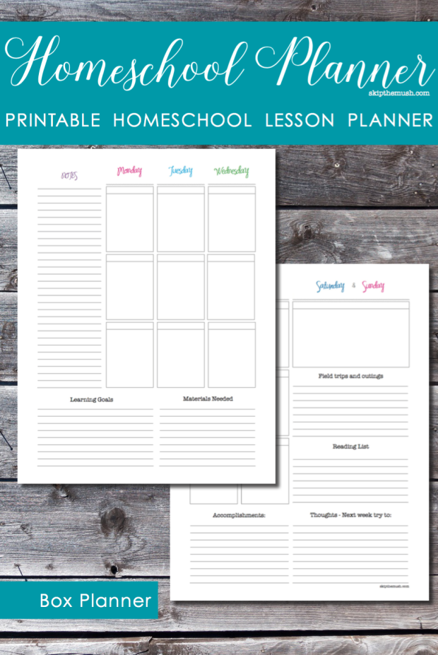 homeschool lesson planner printable planner